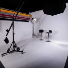 This image shows the main shooting area in the studio, with the fixed 90 degree wall with paper rolls on the left, and the 5 metre wide infinity wall on the right